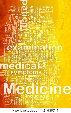 Background concept wordcloud illustration of medicine international