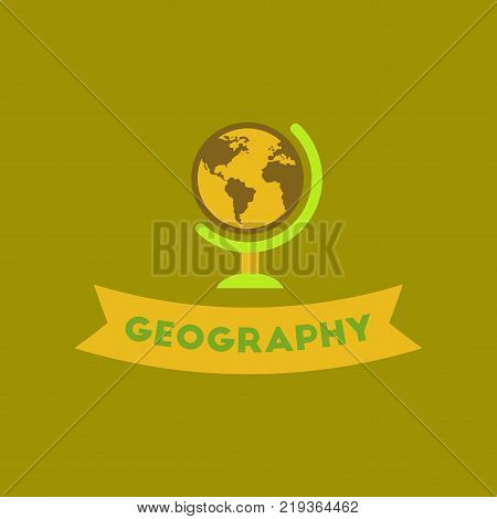 poster of flat icon on stylish background geography lesson