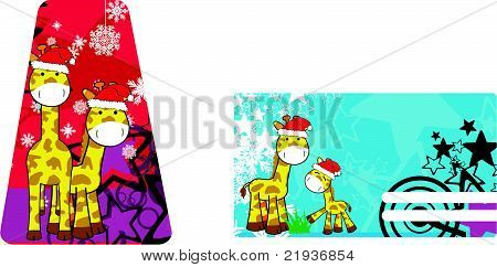 giraffe cartoon xmas copyspace4
