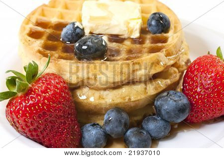 Breakfast With Waffles And Fruit Closeup