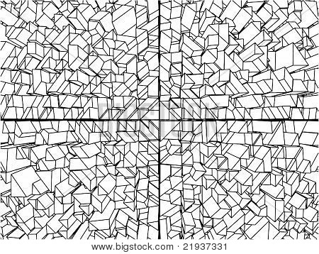 Abstract Urban City Of The Cube And Prism Vector