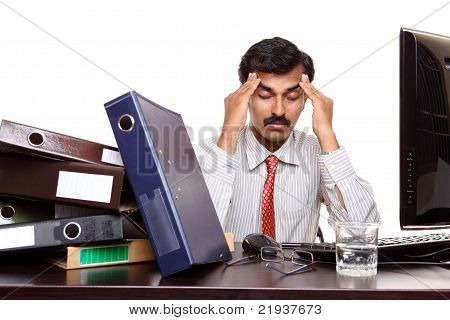 Indian young businessman with tension