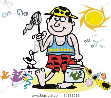 Boy fishing at beach vector cartoon