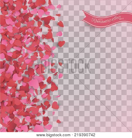 Heart Confetti Of Valentines Petals Falling On Transparent
