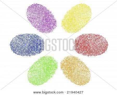 finger prints in various colors diversity concept