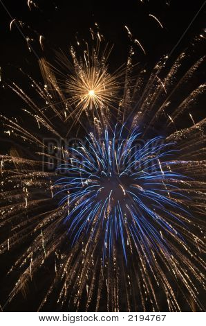 Blue And Gold Fire Works Exploding