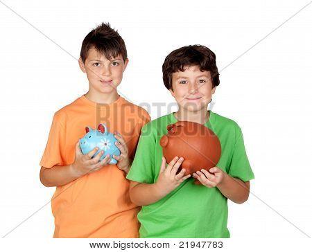 Happy Children With Money-box