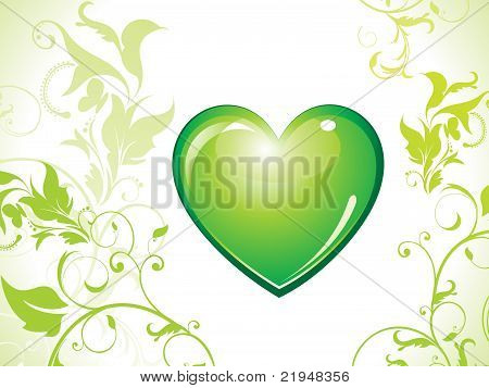 Abstract Eco Green Heart Bin Icon
