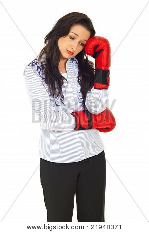Pensive Sad Executive With Boxing Gloves