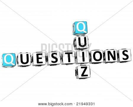 3D Question Quiz Crossword