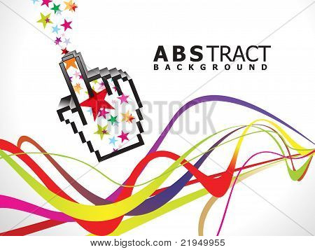 Abstract Colorful Rainbow Line Wave With Hand
