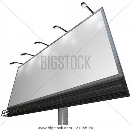Blank white canvass on an outdoor billboard for you to advertise your product or service and attract new customers