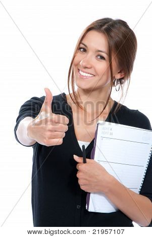 Pretty Business Woman Thumb Up, Smiling, Holding Notebook