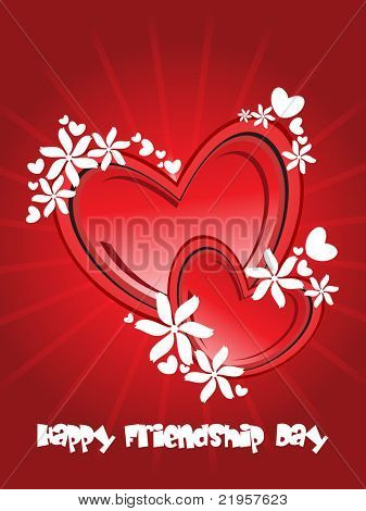 abstract red rays background with decorated heart