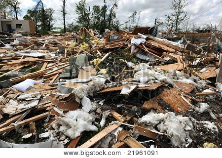 SAINT LOUIS, MO - APRIL 22: Destruction left behind by tornadoes that ravaged the area. April 22, 2011 in Saint Louis, Missouri