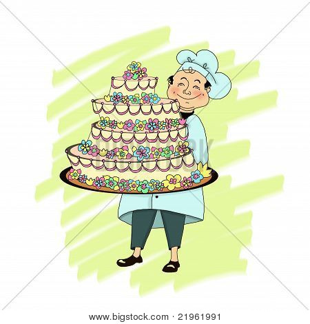 Pastry Chef With Huge Cake