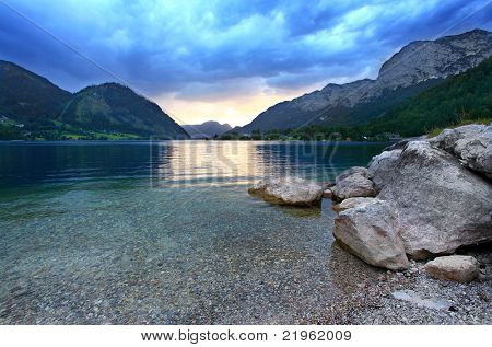 Night storm over a Grundlsee Lake (Alpine Lake) in Salzkammergut. Austria, Europe.