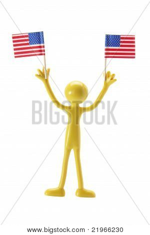 Rubber Figure With American Flags
