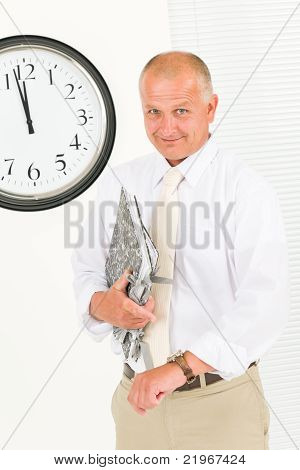 Punctual Businessman Senior Handsome Portrait