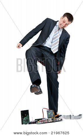 Businessman Trampling Motherboard