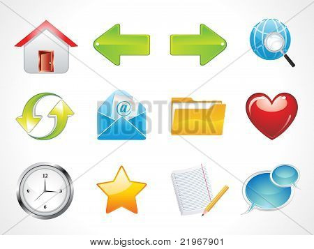 Abstract Glossy Web Icons Set