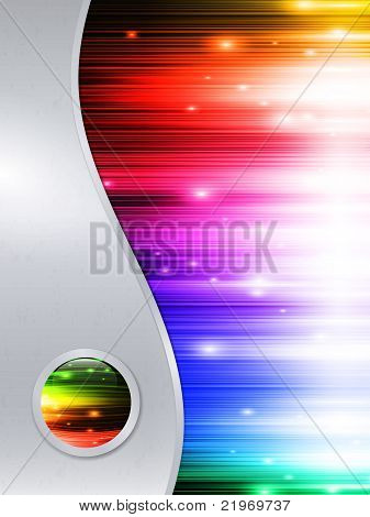 Multicolored Background In Metal Frame With Glossy Button