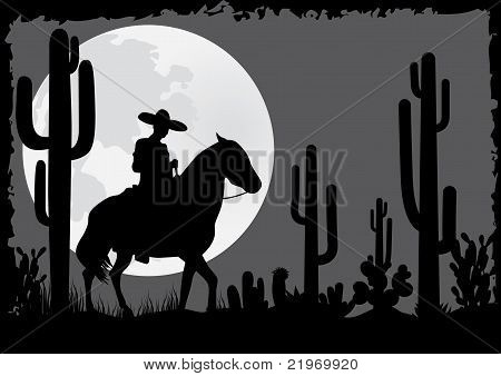 Horseman rides in the desert