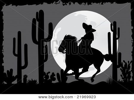 Horseman rides in the desert