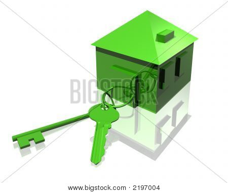 Keys And House In Green