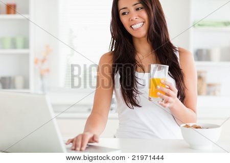 Charming Woman Relaxing With Her Laptop While Holding A Glass Of Orange Juice