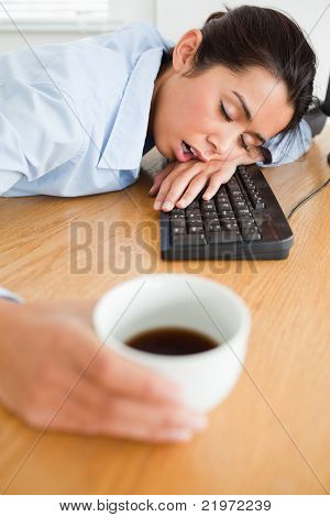 Gorgeous Woman Sleeping On A Keyboard While Holding A Cup Of Coffee