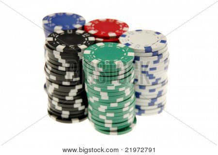 Five Stacks of Poker Chips