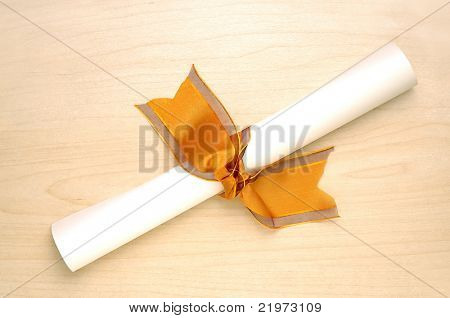 Diploma with ribbon