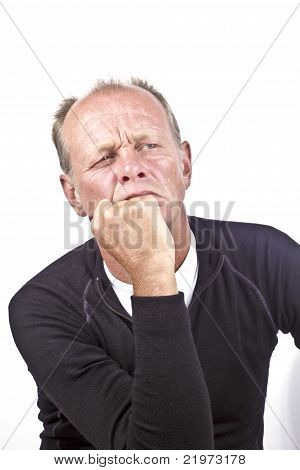 Man contemplating on a white background