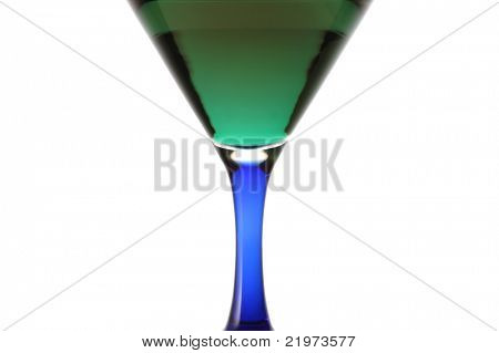 Green Drink in blue stem glass