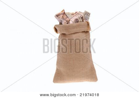 Money Bag stuffed with United States Currency