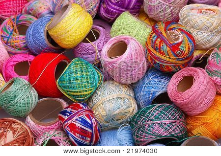 Multi colored Spools of cotton Tatting thread