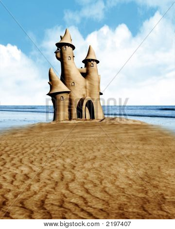 Sand Castle And Seaside