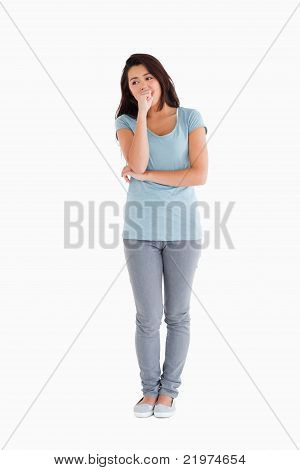 Good Looking Pensive Woman Standing
