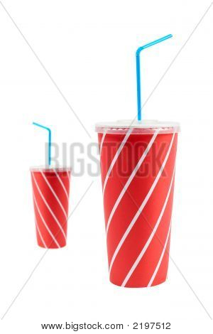 Two Soda Drinks With Blue Straw