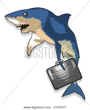 Cartoon Shark With Briefcase