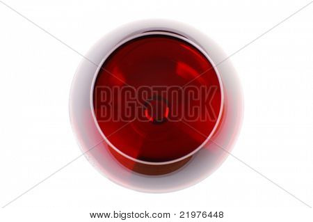 Wine Glass Seen From Above isolated over white