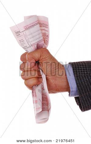 Man's Hand Holding a Crumpled Tax Form isolated over white