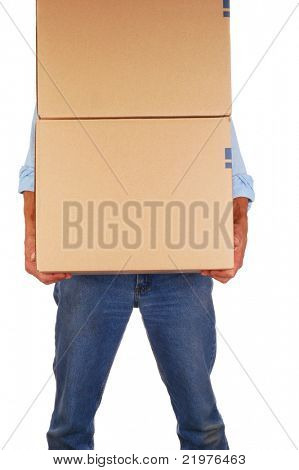 Man in Jeans Carrying Cardboard Moving Boxes isolated over white