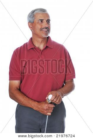 Middle Aged Man in red shirt holding golf club and ball isolated on white