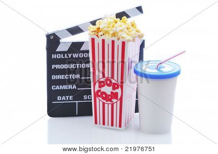 Popcorn drink and clapboard isolated on white background