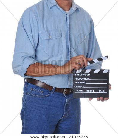 Man holding movie clapboard torso only isolated over white