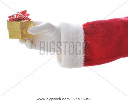 Santa Holding Small Gold Gift Box in his hand isolated over white - hand and arm only