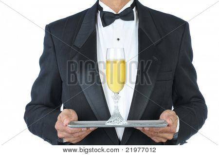 Man in Tuxedo Champagne Flute on Tray isolated over white