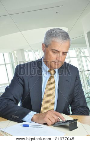 Businessman Seated at His Desk Using Calculator in office setting